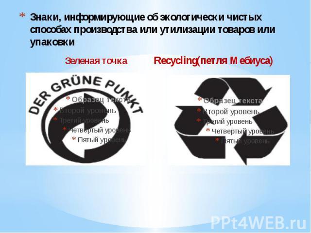 Знаки, информирующие об экологически чистых способах производства или утилизации товаров или упаковки