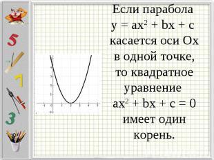 Если парабола у = ax2 + bx + c касается оси Ох в одной точке, то квадратное урав