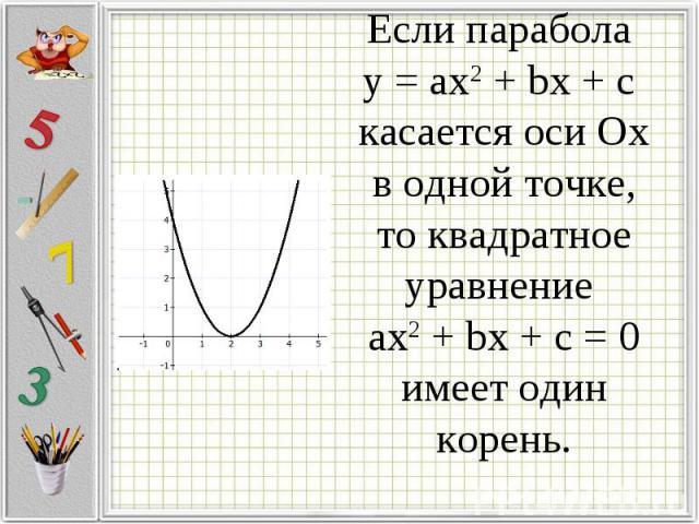 Если парабола у = ax2 + bx + c касается оси Ох в одной точке, то квадратное уравнение ax2 + bx + c = 0имеет один корень.