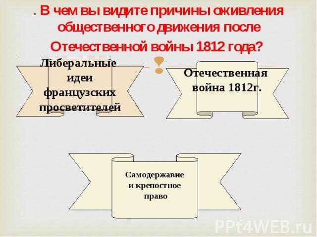 . В чем вы видите причины оживления общественного движения после Отечественной войны 1812 года?
