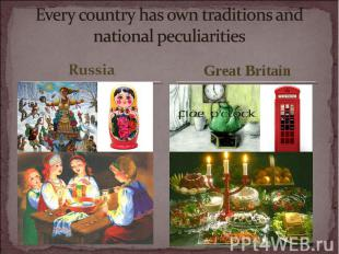 Every country has own traditions and national peculiarities
