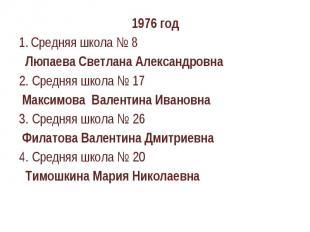 1976 годСредняя школа № 8 Люпаева Светлана Александровна2. Средняя школа № 17 Ма