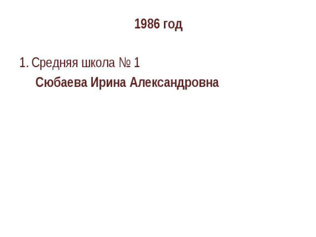 1986 годСредняя школа № 1 Сюбаева Ирина Александровна