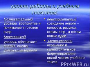 уровни работы с учебным текстом: Познавательный уровень восприятие и понимание в