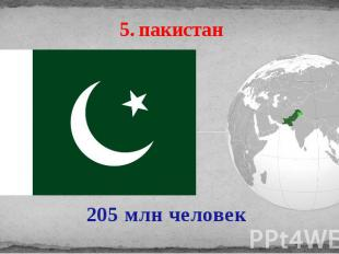 5. пакистан 205 млн человек