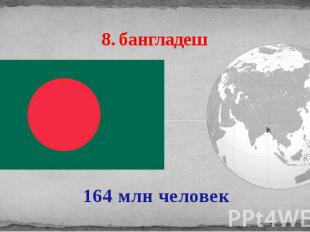 8. бангладеш 164 млн человек