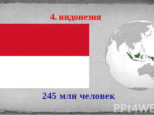 4. индонезия 245 млн человек