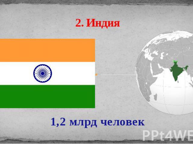 2. Индия 1,2 млрд человек