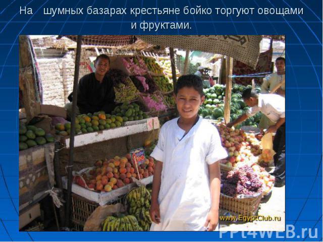 На шумных базарах крестьяне бойко торгуют овощами и фруктами.