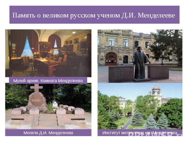 Память о великом русском ученом Д.И. Менделееве