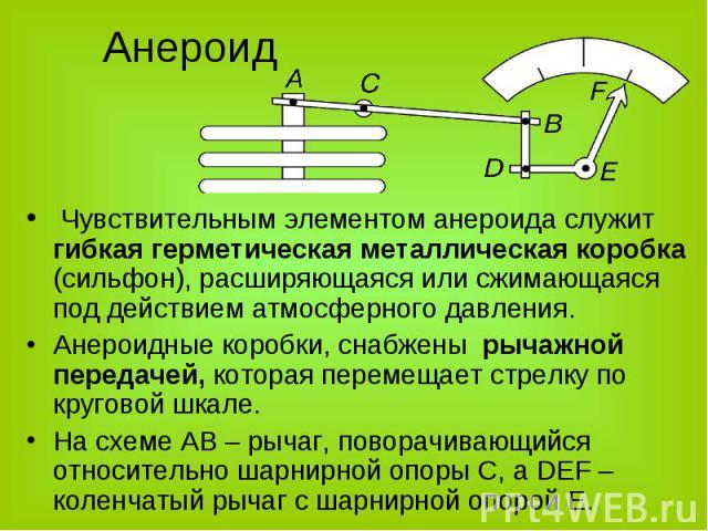 Чувствительным элементом анероида служит гибкая герметическая металлическая коробка (сильфон), расширяющаяся или сжимающаяся под действием атмосферного давления. Чувствительным элементом анероида служит гибкая герметическая металлическая…