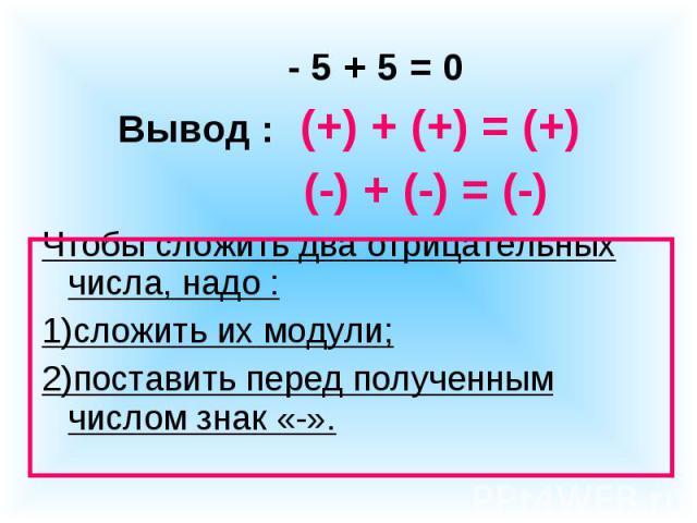 - 5 + 5 = 0Вывод : (+) + (+) = (+) (-) + (-) = (-)Чтобы сложить два отрицательных числа, надо :1)сложить их модули;2)поставить перед полученным числом знак «-».