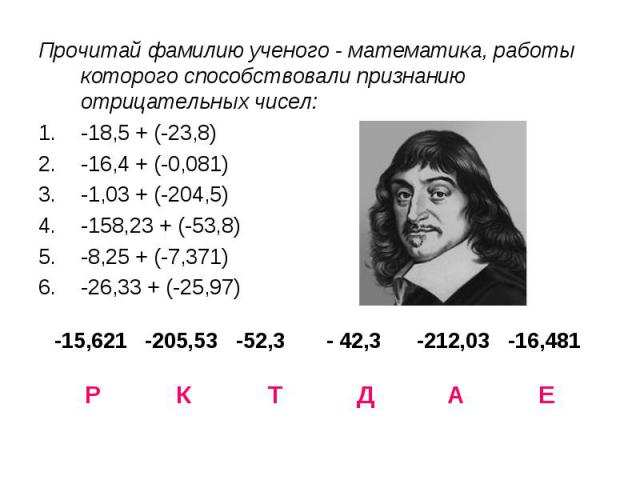Прочитай фамилию ученого - математика, работы которого способствовали признанию отрицательных чисел:-18,5 + (-23,8)-16,4 + (-0,081)-1,03 + (-204,5)-158,23 + (-53,8)-8,25 + (-7,371)-26,33 + (-25,97)