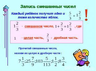 Запись смешанных чисел Каждый ребёнок получит одно и тоже количество яблок.Прочи