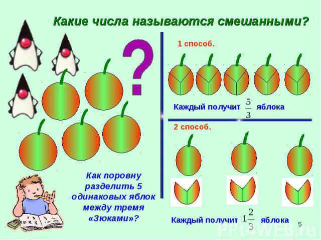 Какие числа называются смешанными? Как поровну разделить 5 одинаковых яблок между тремя «Зюками»?