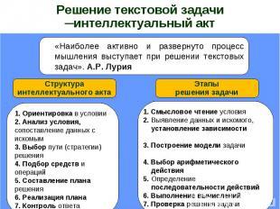 Решение текстовой задачи ─интеллектуальный акт«Наиболее активно и развернуто про