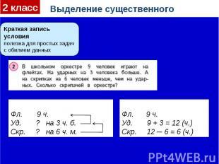 Выделение существенногоКраткая запись условияполезна для простых задач с обилием