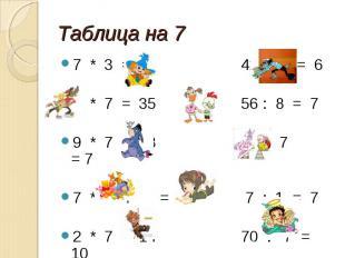 Таблица на 7