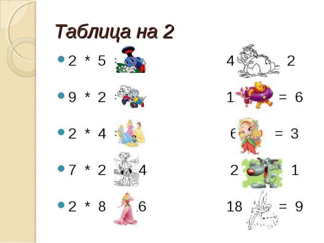 Таблица на 2