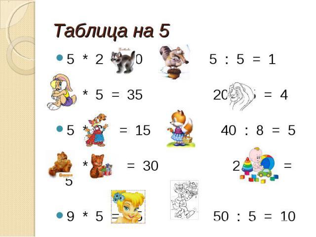 Таблица на 5