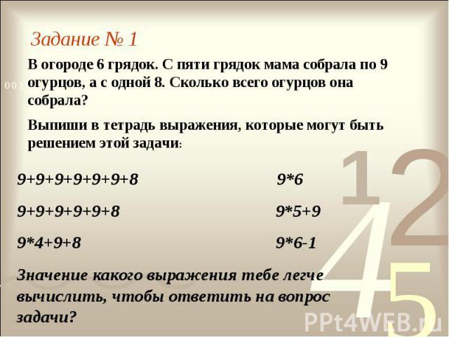 Задание № 1В огороде 6 грядок. С пяти грядок мама собрала по 9 огурцов, а с одной 8. Сколько всего огурцов она собрала?Выпиши в тетрадь выражения, которые могут быть решением этой задачи:9+9+9+9+9+9+8 9*69+9+9+9+9+8 9*5+99*4+9+8 9*6-1Значение какого…