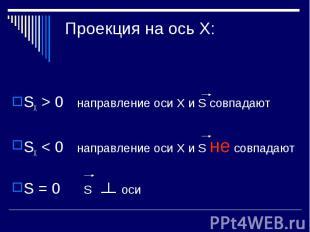 Проекция на ось Х: SХ > 0 направление оси Х и S совпадаютSХ < 0 направление оси