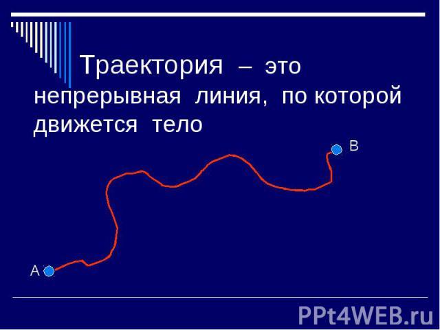 Траектория – это непрерывная линия, по которой движется тело