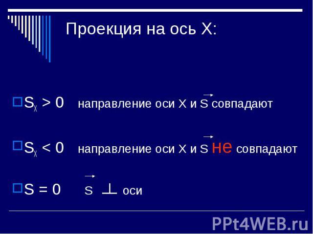 Проекция на ось Х: SХ > 0 направление оси Х и S совпадаютSХ < 0 направление оси Х и S не совпадаютS = 0 S оси