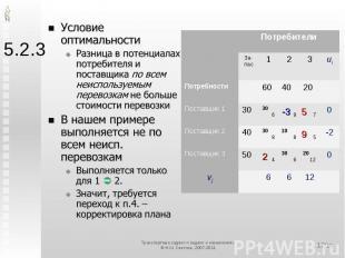 5.2.3 Условие оптимальностиРазница в потенциалах потребителя и поставщика по все