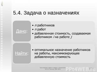 5.4. Задача о назначениях Дано:n работниковn работдобавленная стоимость, создава