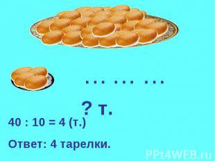 40 : 10 = 4 (т.)Ответ: 4 тарелки.
