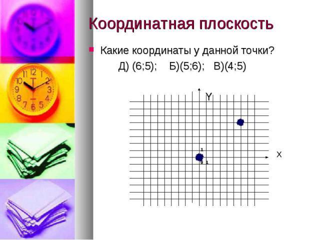 Координатная плоскость Какие координаты у данной точки? Д) (6;5); Б)(5;6); В)(4;5) Y