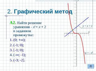 2. Графический метод A2. Найти решение уравнения - x3 = x + 2 в заданном промежу