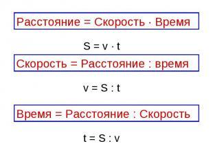 Расстояние = Скорость ∙ ВремяСкорость = Расстояние : времяВремя = Расстояние : С