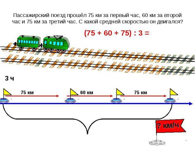 Пассажирский поезд прошёл 75 км за первый час, 60 км за второй час и 75 км за третий час. С какой средней скоростью он двигался?