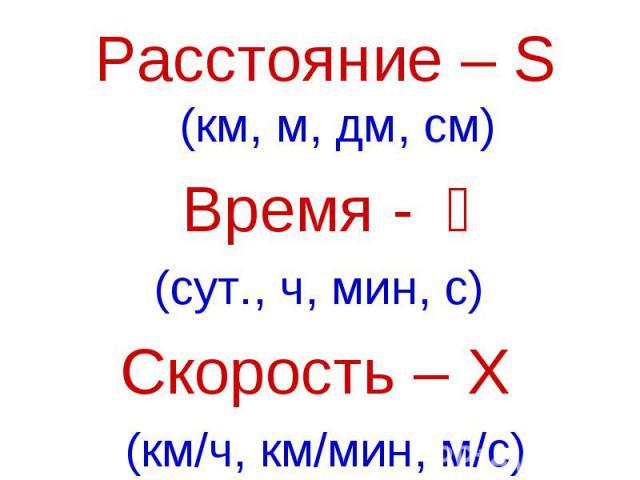 Расстояние – S (км, м, дм, см)Время - t(сут., ч, мин, с) Скорость – Ʋ (км/ч, км/мин, м/с)