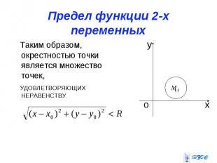 Предел функции 2-х переменных Таким образом, окрестностью точки является множест