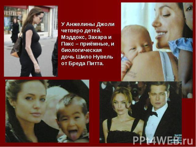 У Анжелины Джоли четверо детей. Мэддокс, Захара и Пакс – приёмные, и биологическая дочь Шило Нувель от Бреда Питта.
