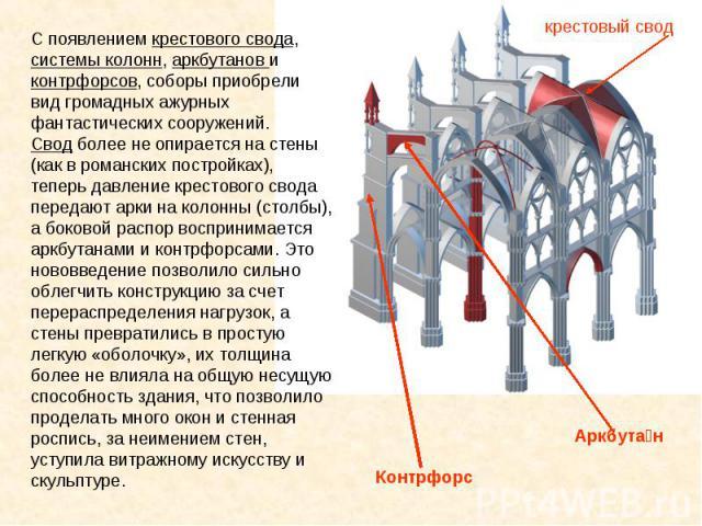 C появлением крестового свода, системы колонн, аркбутанов и контрфорсов, соборы приобрели вид громадных ажурных фантастических сооружений.Свод более не опирается на стены (как в романских постройках), теперь давление крестового свода передают арки н…