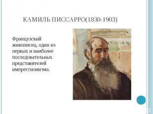 Камиль Писсарро(1830-1903) Французский живописец, один из первых и наиболее посл