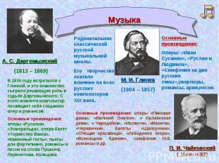 Музыка А. С. Даргомыжский(1813 – 1869)В 1835 году встретился с Глинкой, и это зн