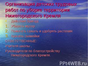 Организация детских трудовых работ по уборке территории Нижегородского Кремля Де