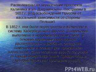Расположены на пересечении проспекта Калинина и ул. Дзержинского. Построены в 16