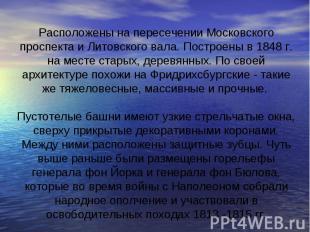 Расположены на пересечении Московского проспекта и Литовского вала. Построены в