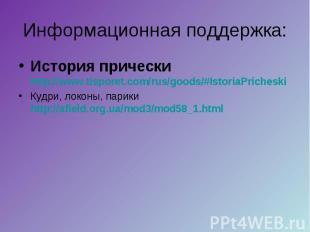 Информационная поддержка: История прически http://www.tisporet.com/rus/goods/#Is