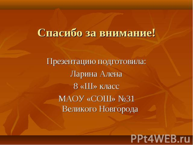Спасибо за внимание! Презентацию подготовила:Ларина Алена8 «Ш» классМАОУ «СОШ» №31Великого Новгорода