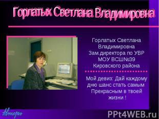 Горлатых Светлана Владимировна Горлатых Светлана Владимировна Зам.директора по У