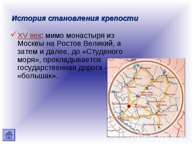 История становления крепости XV век: мимо монастыря из Москвы на Ростов Великий, а затем и далее, до «Студеного моря», прокладывается государственная дорога – «большак».