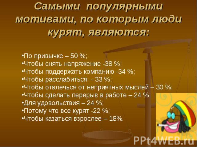 Самыми популярными мотивами, по которым люди курят, являются: По привычке – 50 %;Чтобы снять напряжение -38 %;Чтобы поддержать компанию -34 %;Чтобы расслабиться - 33 %;Чтобы отвлечься от неприятных мыслей – 30 %;Чтобы сделать перерыв в работе – 24 %…