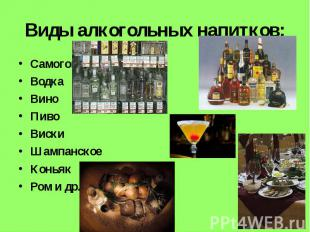 Виды алкогольных напитков: СамогонВодкаВиноПивоВискиШампанскоеКоньякРом и др.